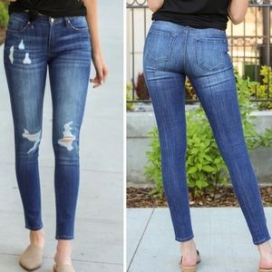 KanCan Mid Rise Distressed Skinny Blue Jeans 25